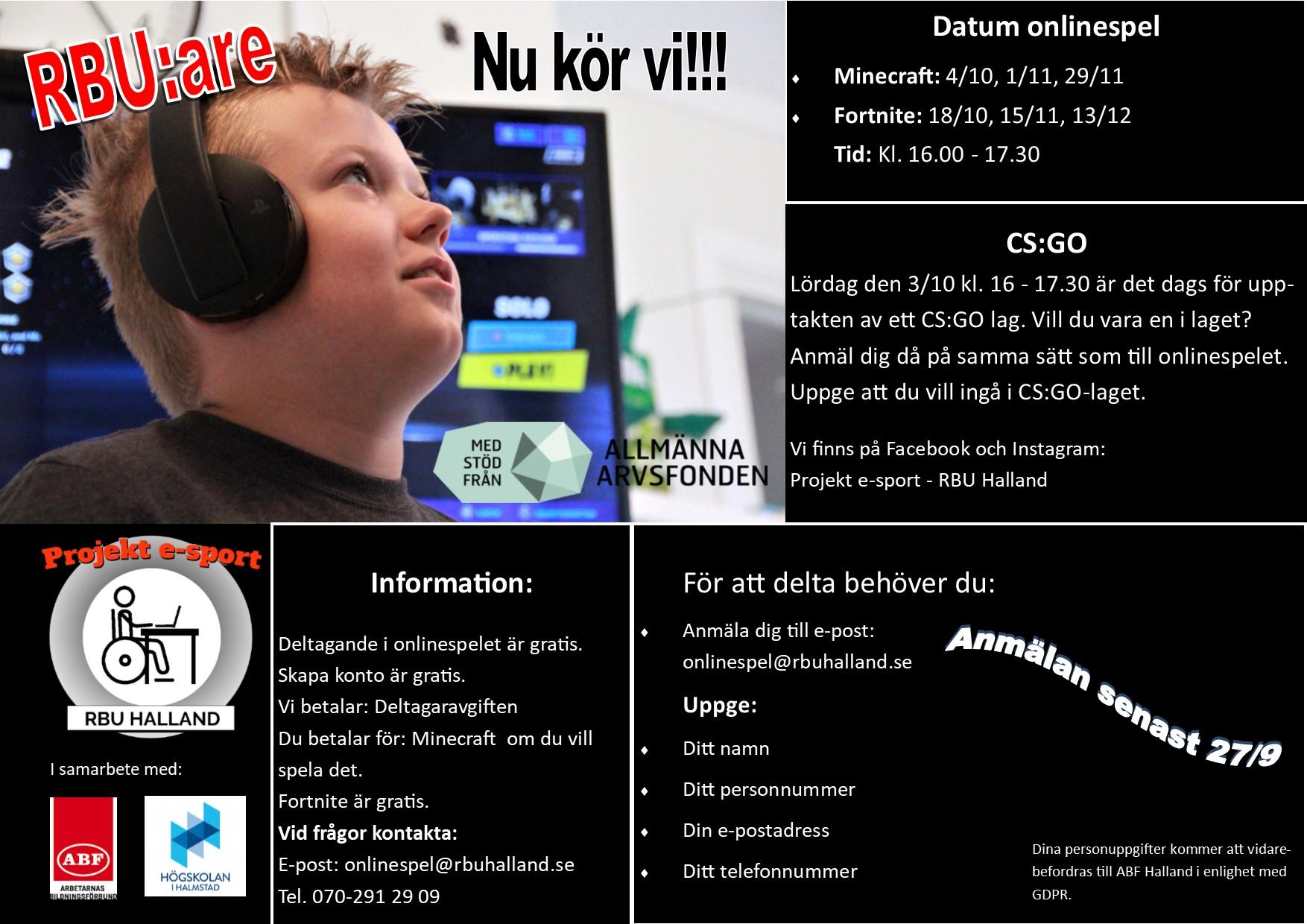 Inbjudan onlinespel hösten 2020